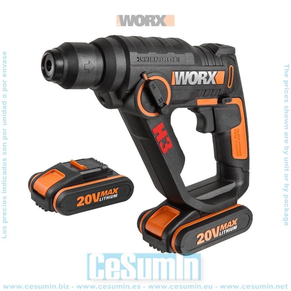 H3 Taladro/Atornillador/Martillo 20V 2Ah 2 baterias - WORX - Ref: WX390.1