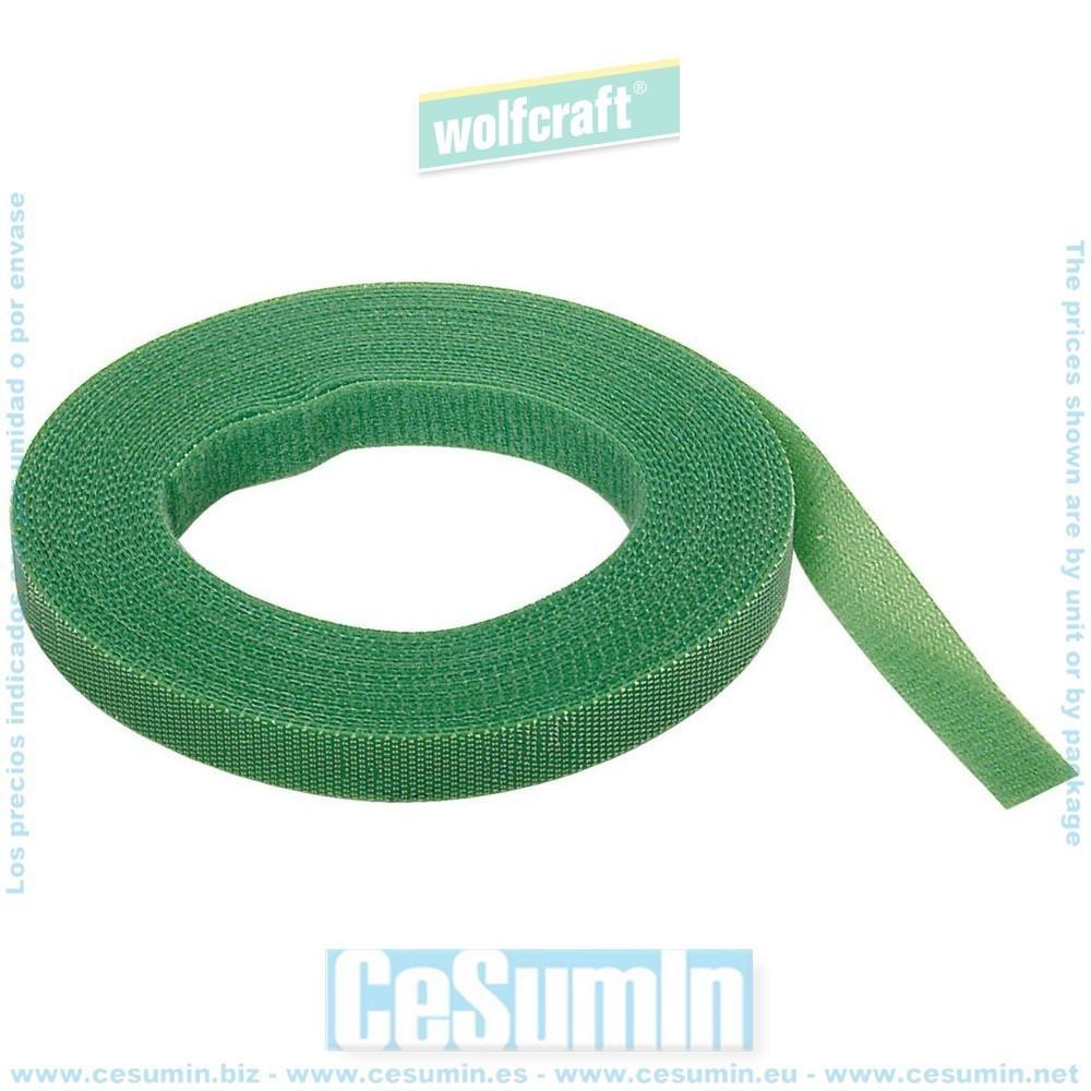WOLFCRAFT 3285000 - Tira adherente de velcro verdes para el jardin 10 mm x 5 m mm