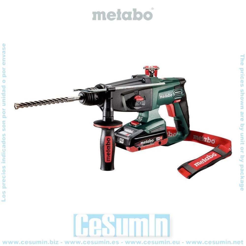 Metabo 600210800 Martillo combinado SDS Plus a bateria 18V 2x LiHD 4Ah Li-Ion KHA 18 LTX Con maletín