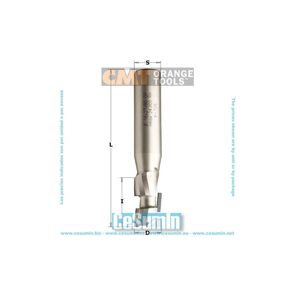 CMT 140.192.61 - Fresa helicoidal z1+1 5-dp (pcd) diam 3/4x1-3/4x4 s 3/4 dx