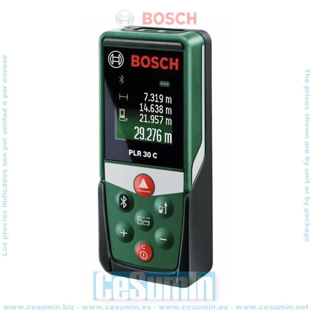 Bosch 0603672100 Medidor láser digital PLR 30 C Alcance 30m Med directa y cont Prec 30m +/-2mm Display digital color