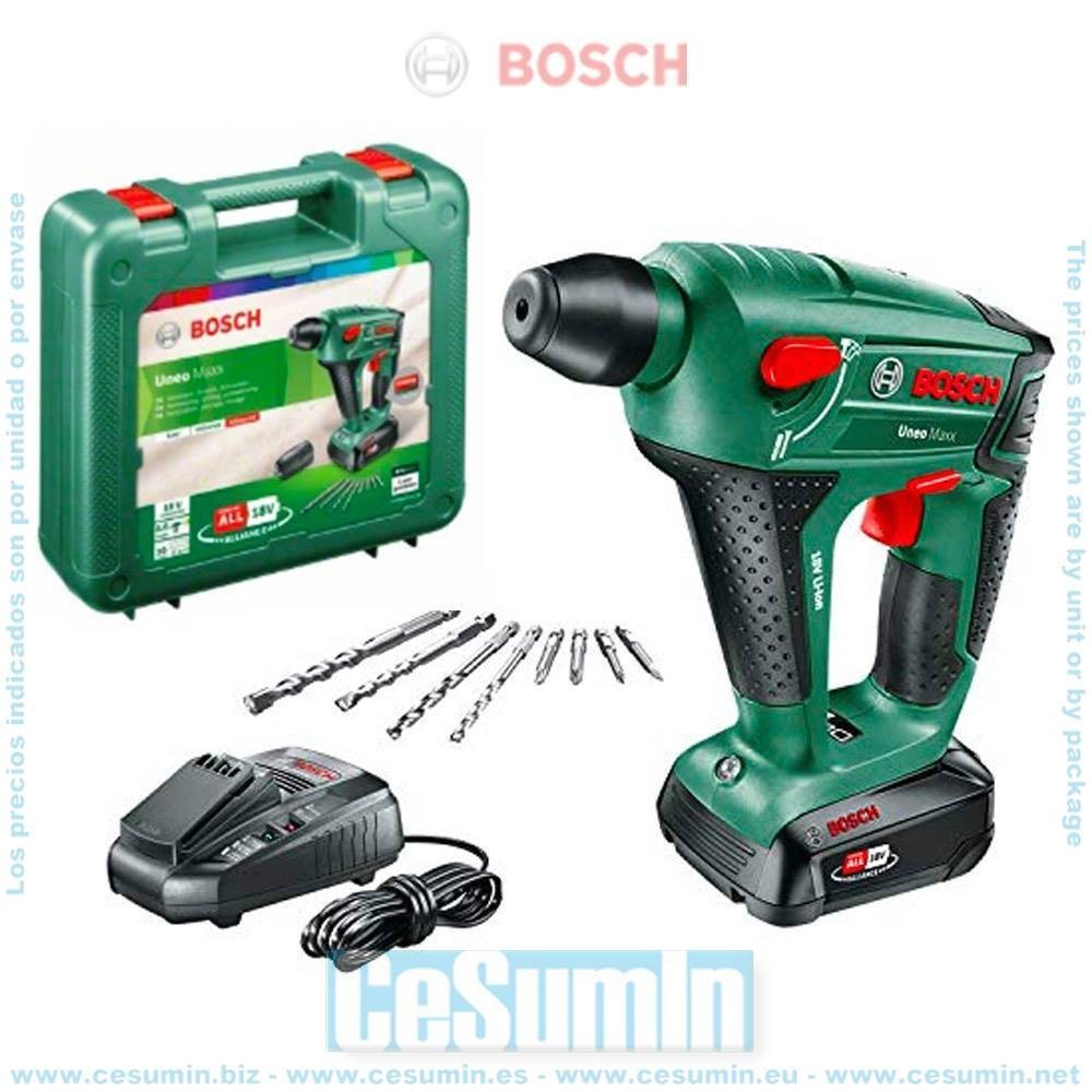 Bosch 060395230F Martillo perforador a batería 3 en 1 Uneo Maxx 18V SDS-Quick + batería 2.5Ah + cargador + maletín